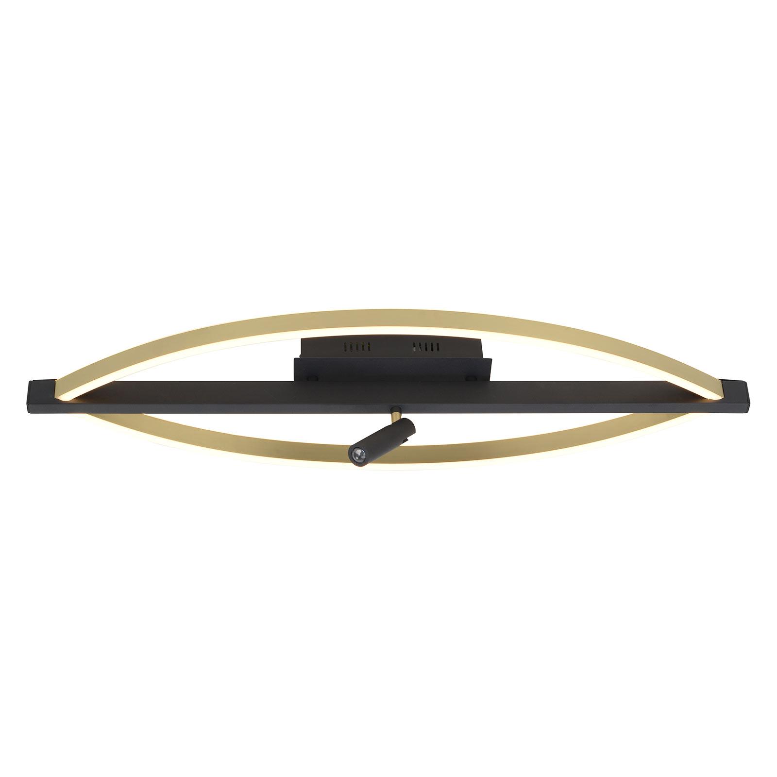 Lucande Matwei plafonnier LED, ovale, laiton