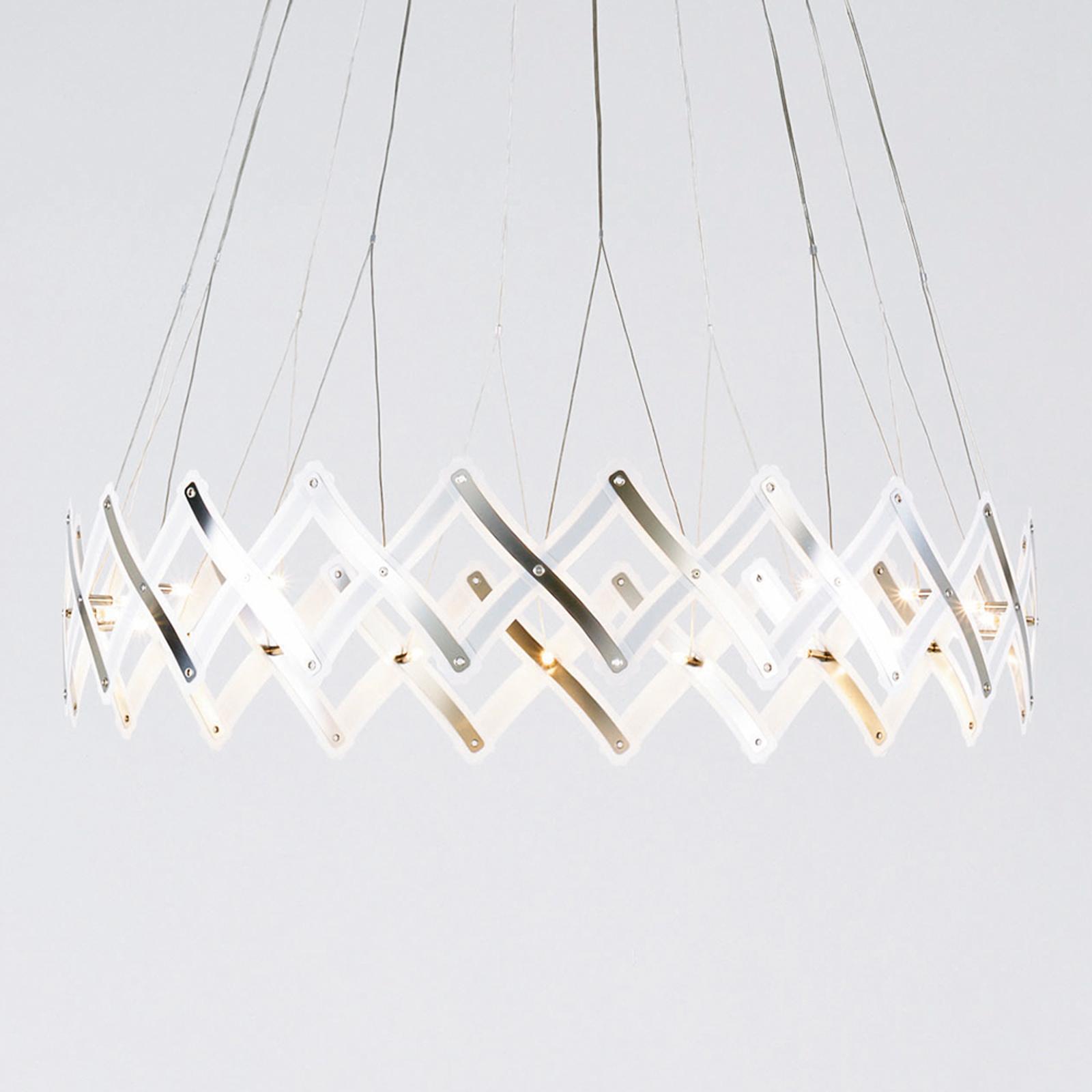 LED-pendellampe Zoom, forstørrbart saksegitter