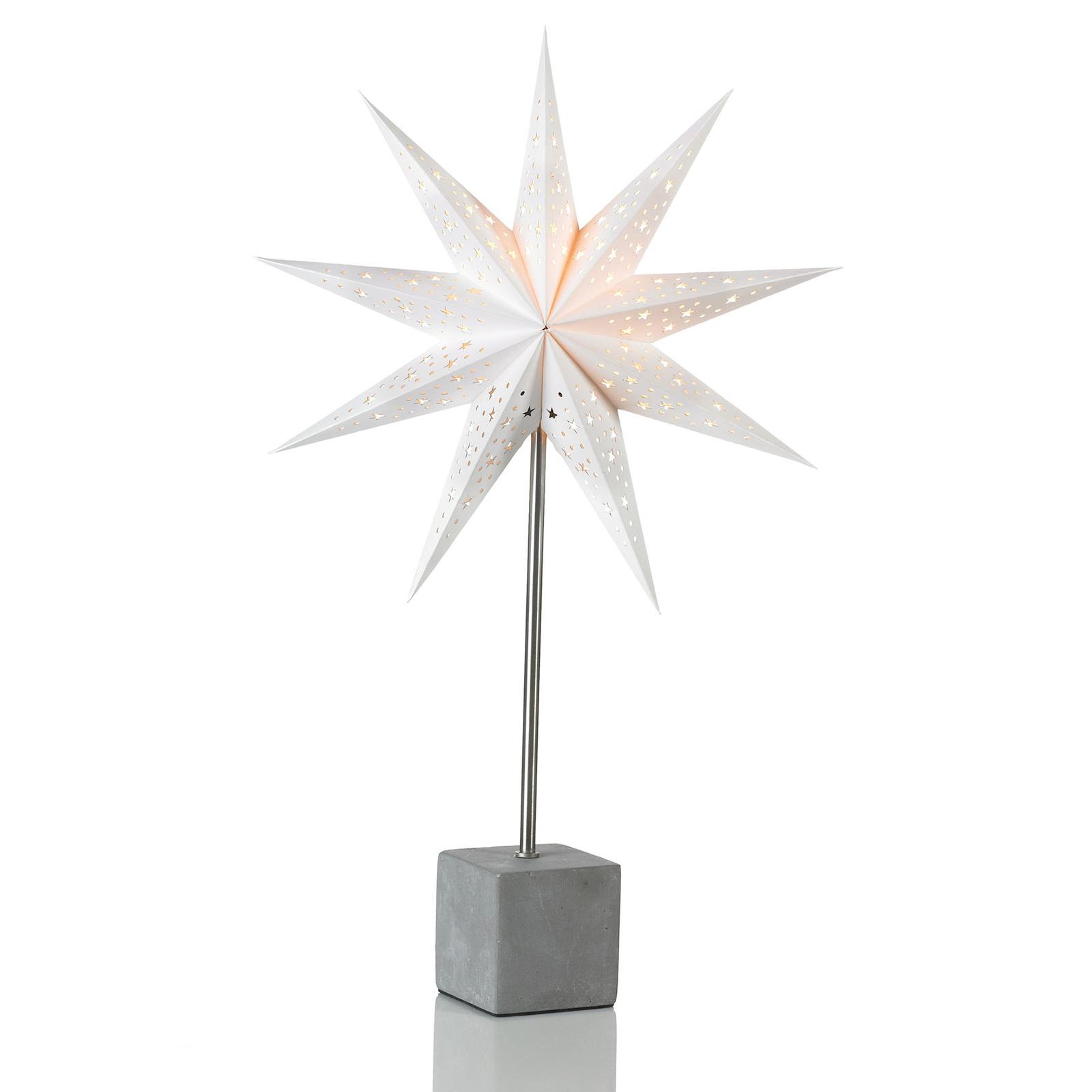 Hard dekor.stjerne som bordlampe høyde 58 cm, hvit