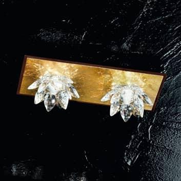 Fiore-taklampe gullblad og krystall