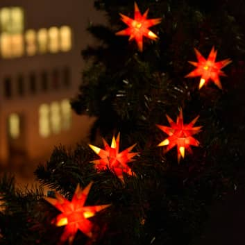 Zweifarbige LED-Lichterkette m. 9 Sternen gelb-rot