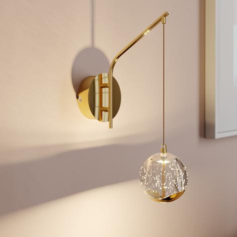 LED wandlamp Hayley m. hangende bol, goud