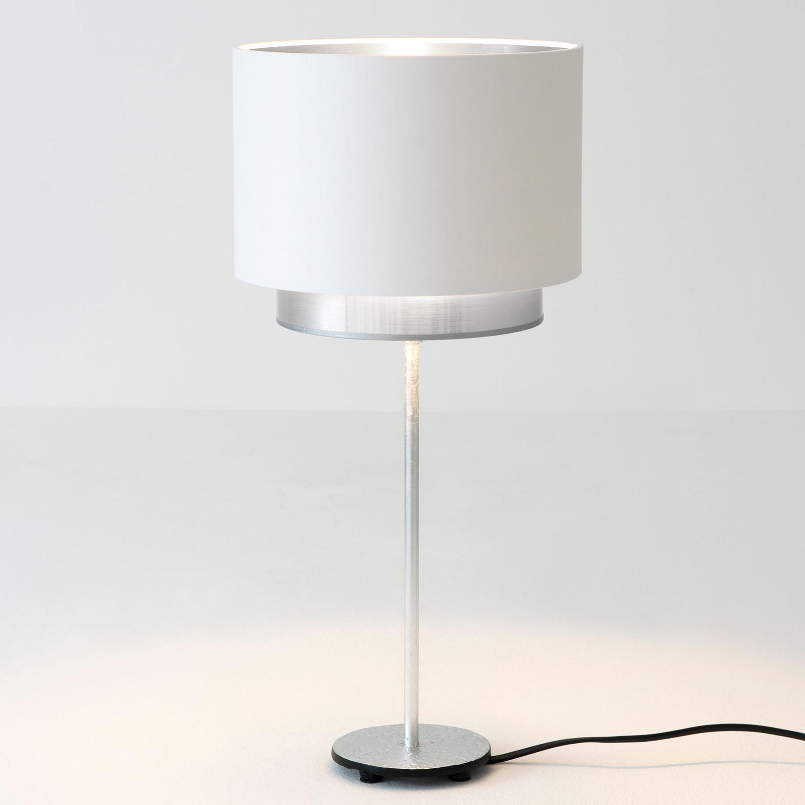 Tafellamp Mattia, Perla Silk wit/zilver