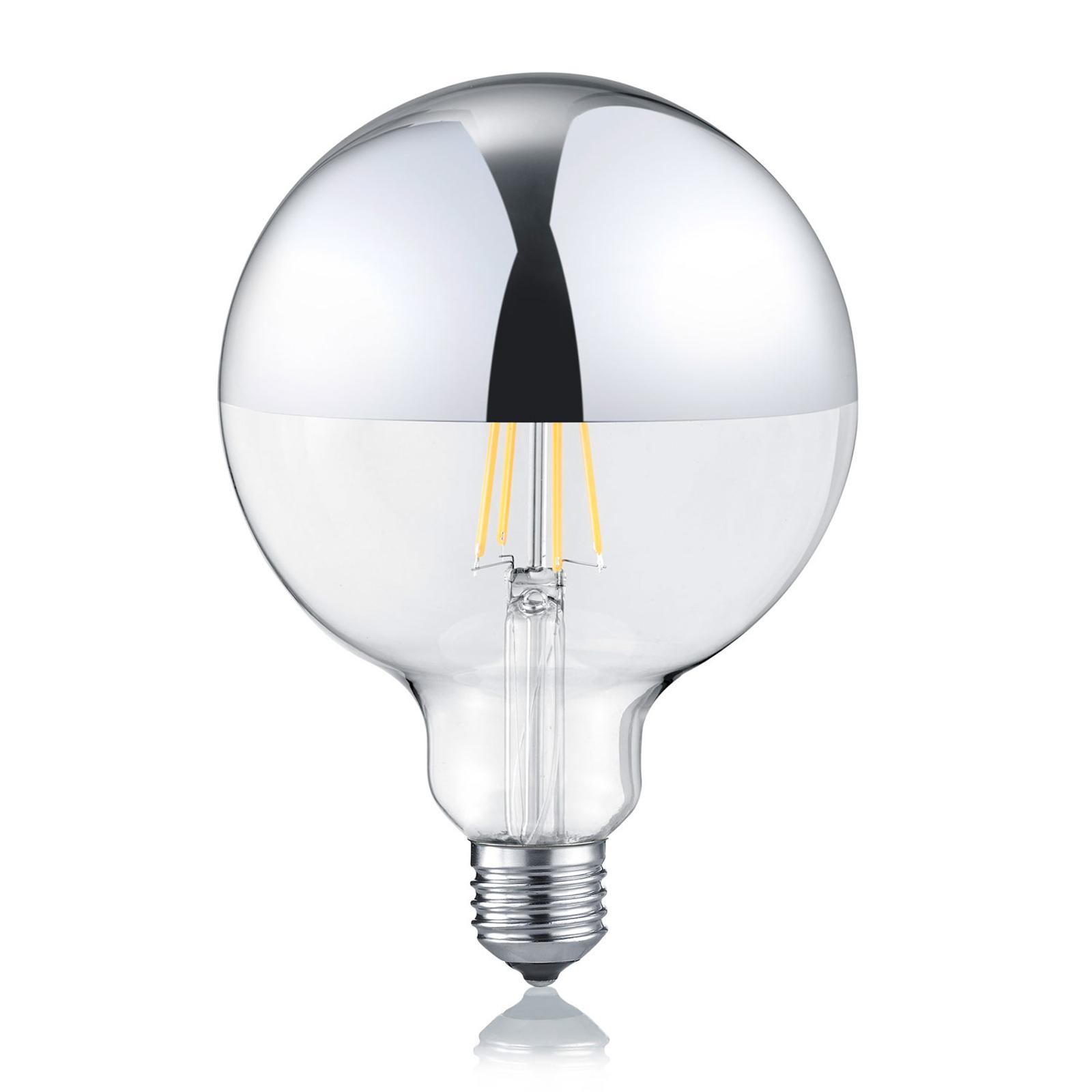 LED-pære E27 G125 7W 2700K, dimbar, toppspeilet