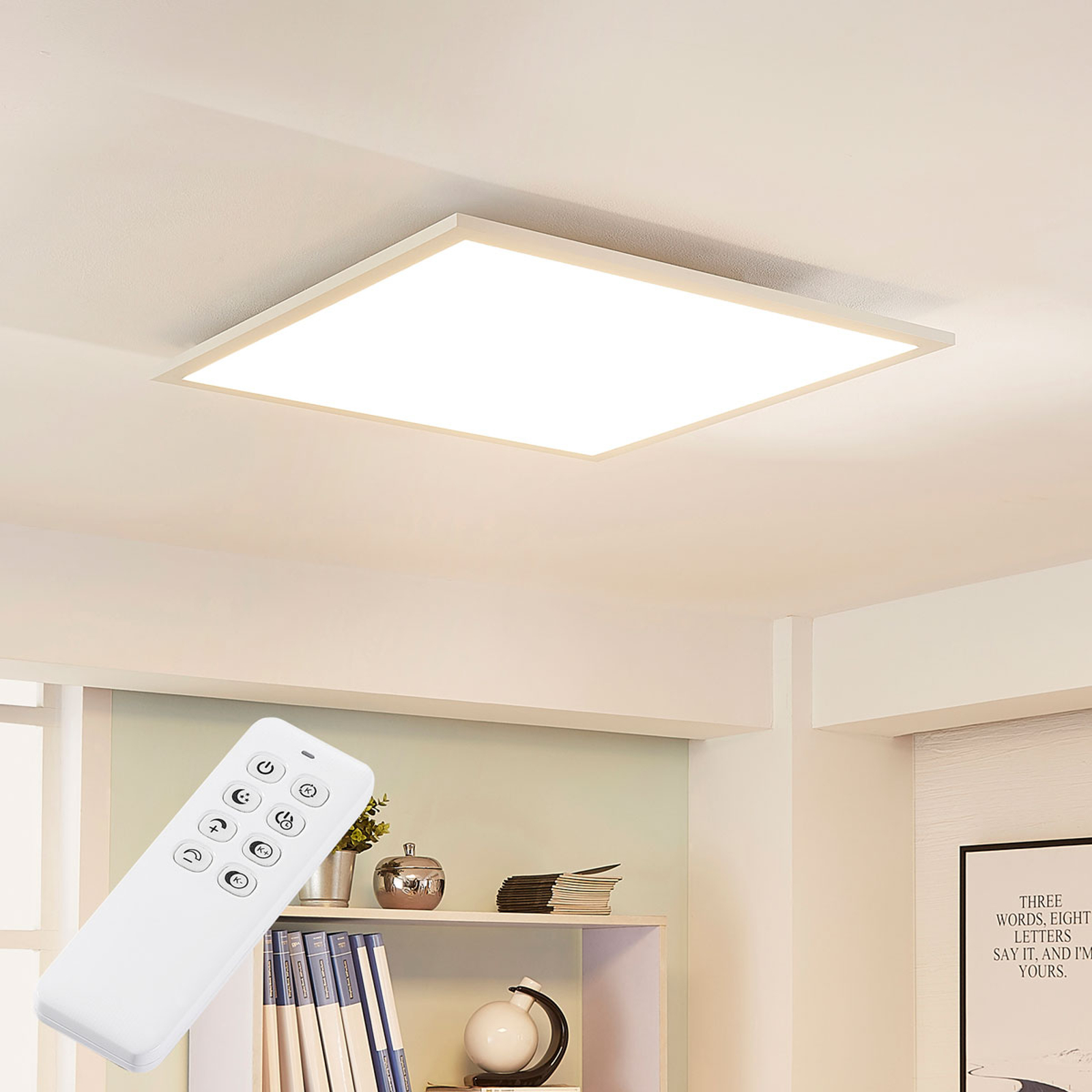 Kwadratowa lampa sufitowa LED Lysander, ściemniana