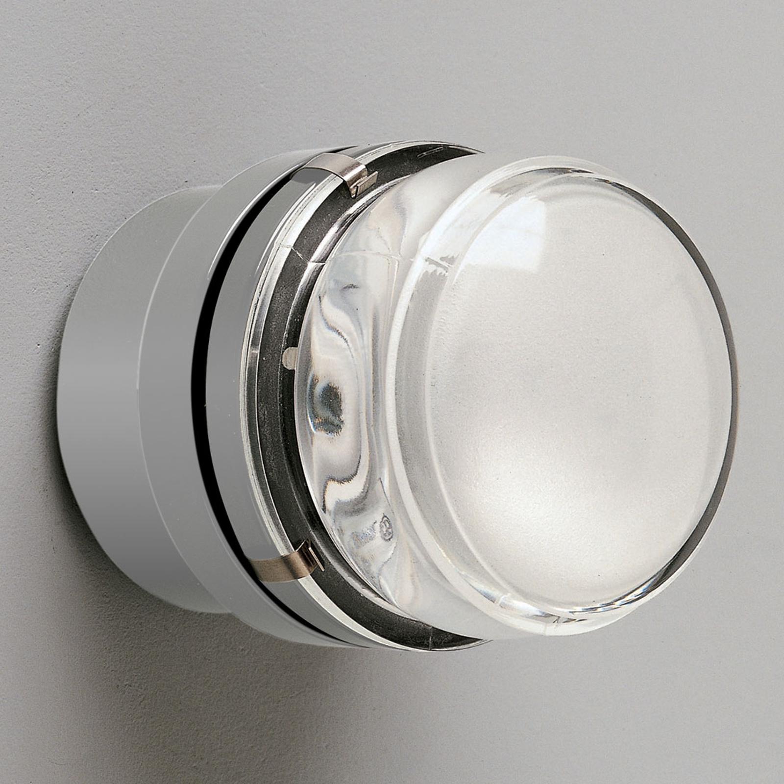 Oluce Fresnel - vägglampa med glaslins IP44, grå