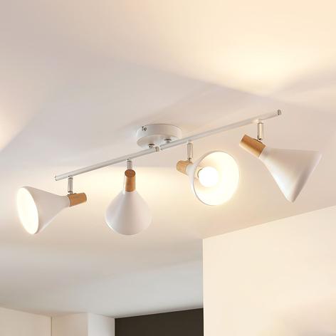 Plafonnier LED Arina à 4 lampes avec bois