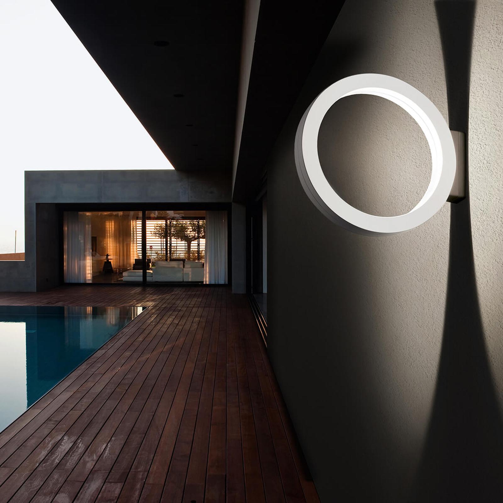 Ringformad LED-utomhusvägglampa Assolo, vit