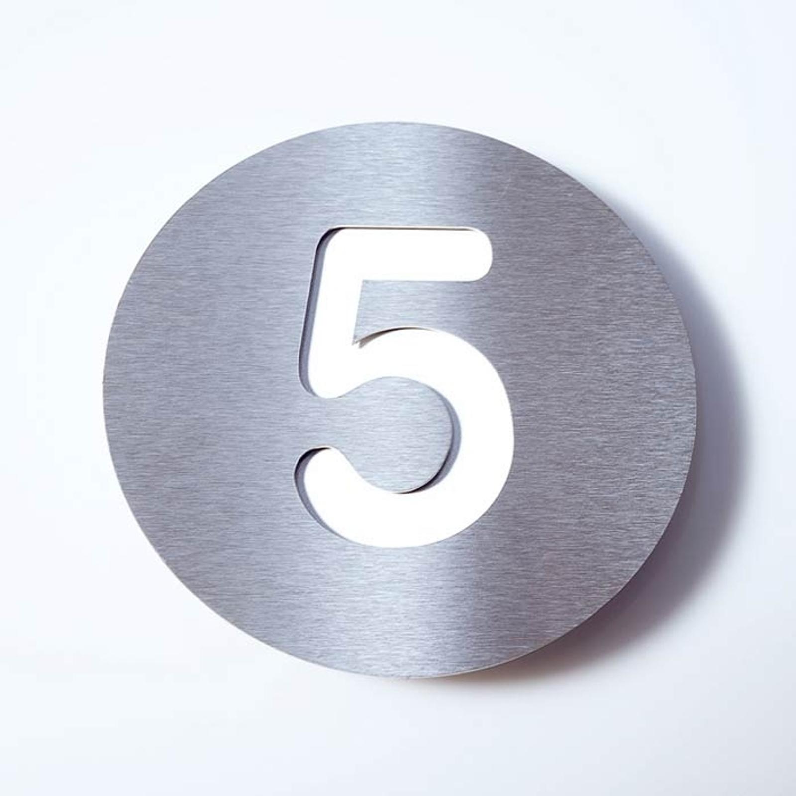 Huisnummer Round van roestvrijstaal - 5