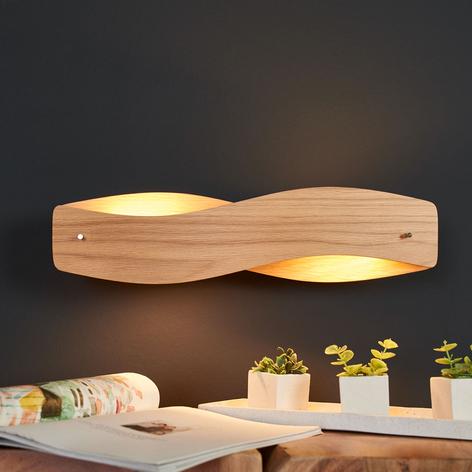 Væglampe Lian i træ med dæmpbare LED'er