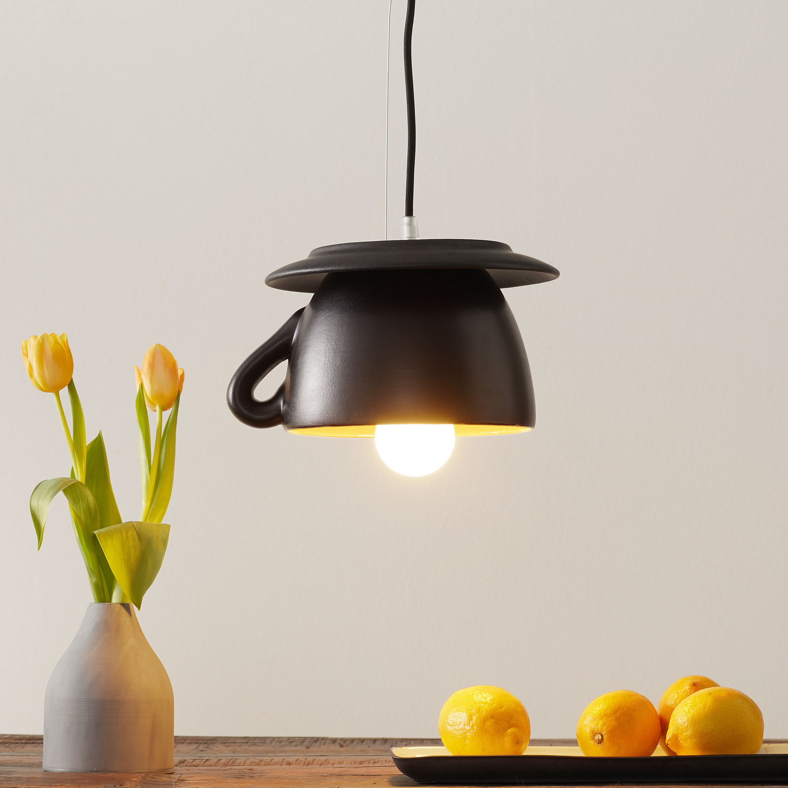 Keramiek-hanglamp S181 GLS, zwart mat/geel