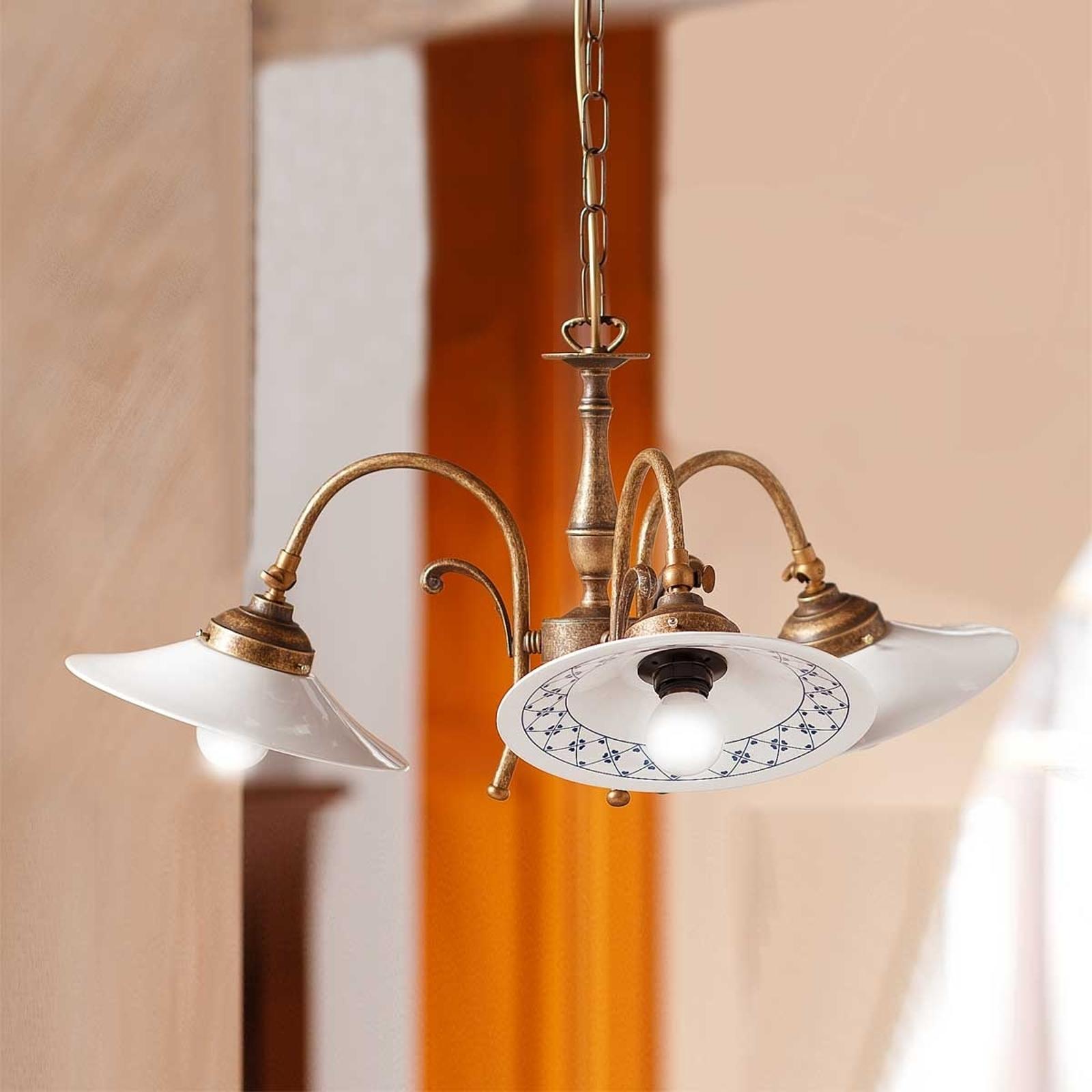 Hængelampe ORLO i landlig stil, med 3 lyskilder