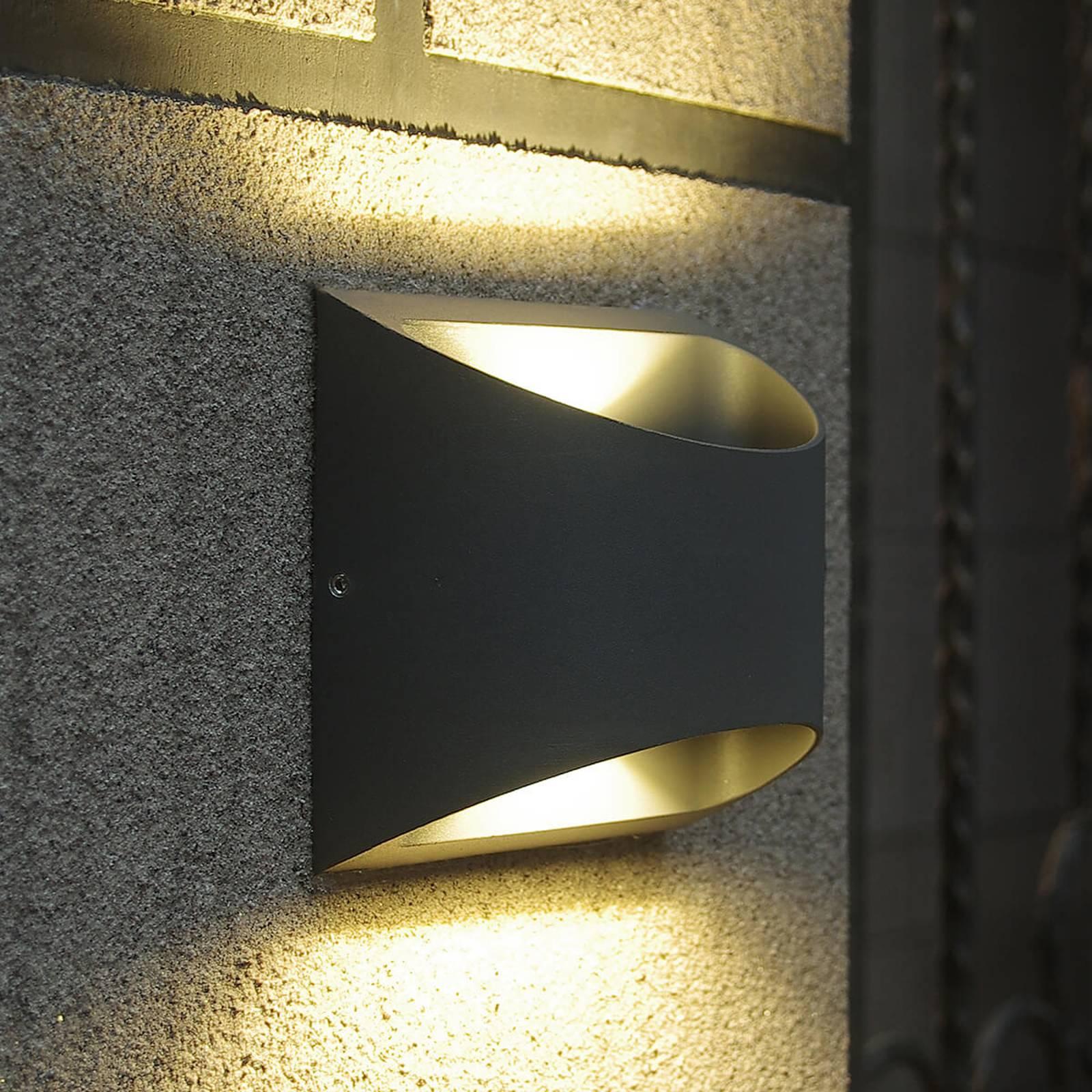 Halfronde LED buitenwandlamp Dodd uit aluminium