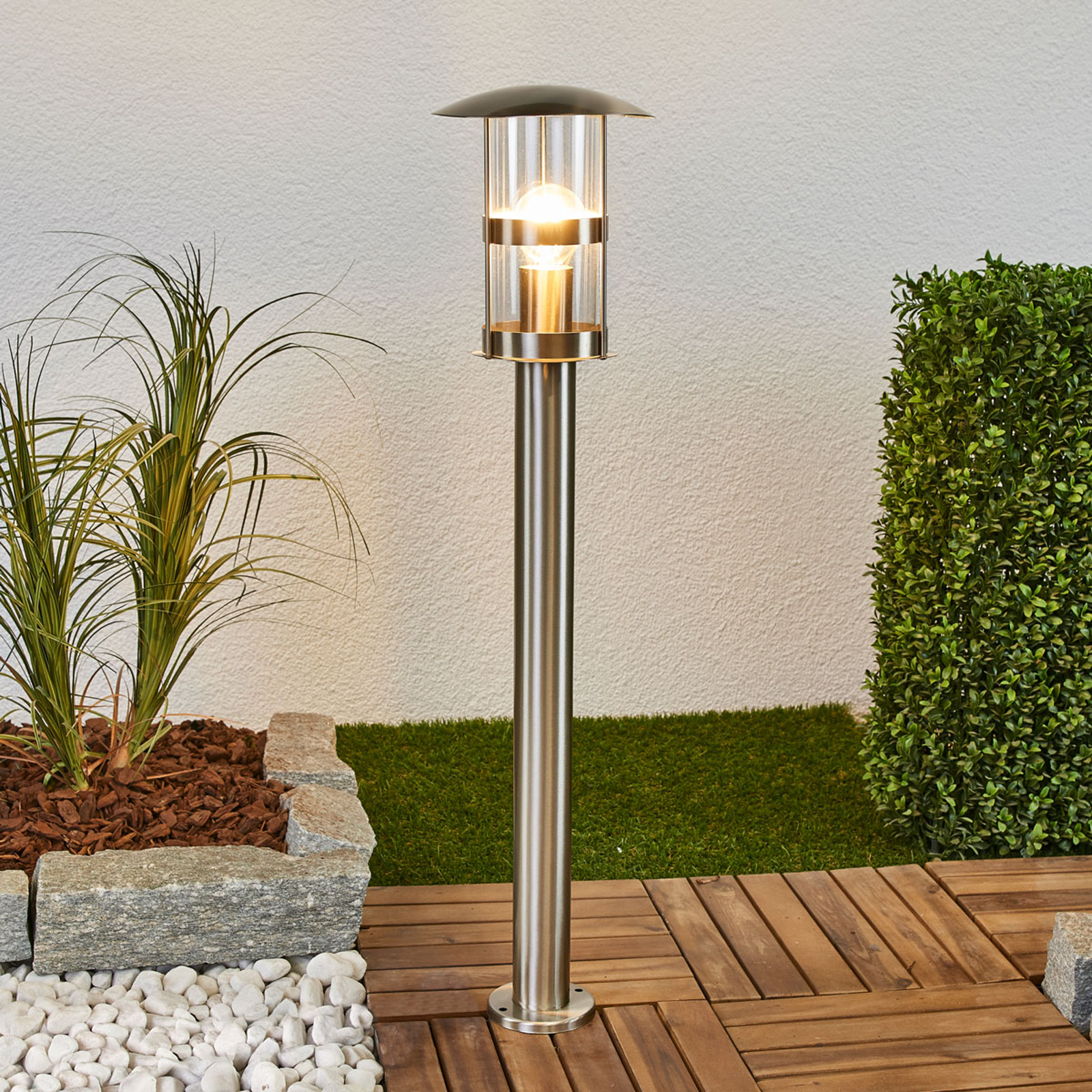 Lindby Noemi stainless steel path lamp for outdoors | Stainless steel