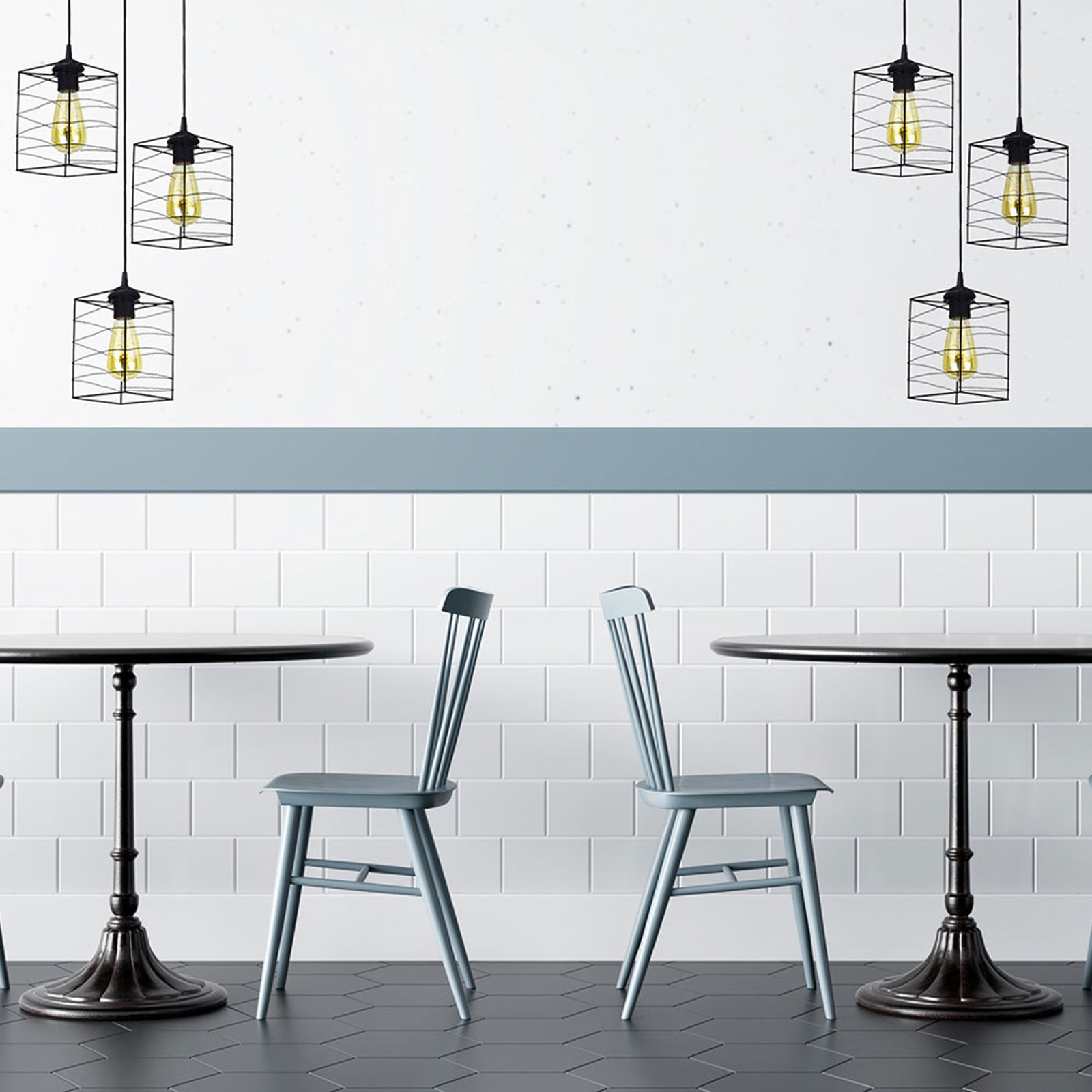 Hanglamp Dantos, 3-lamps, zwart