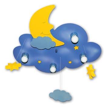 Plafoniera Nuvola blu-giallo 4 luci