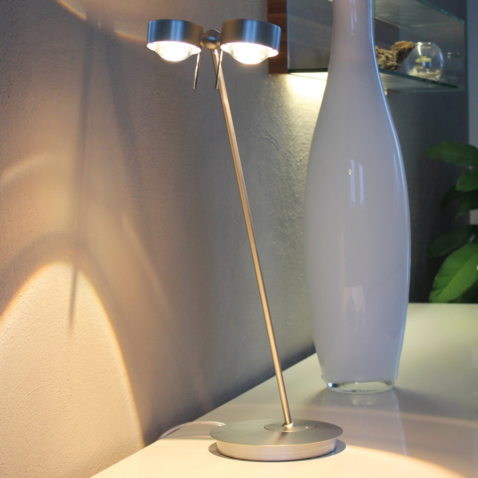 2-lichts tafellamp PUK TABLE, chroom