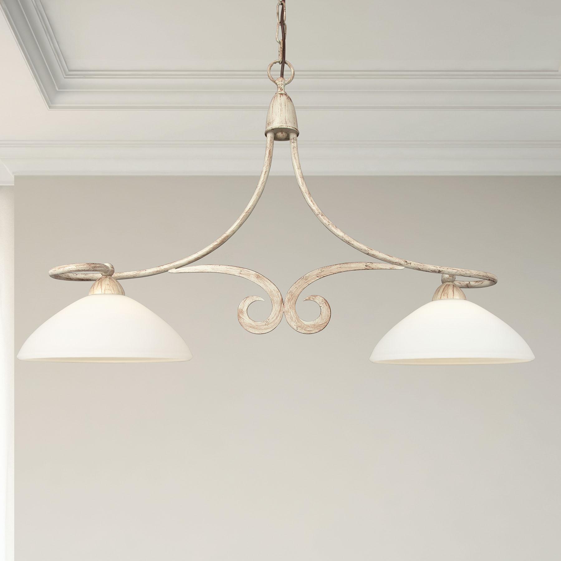 Suspension 1730/2B à 2 lampes, ivoire