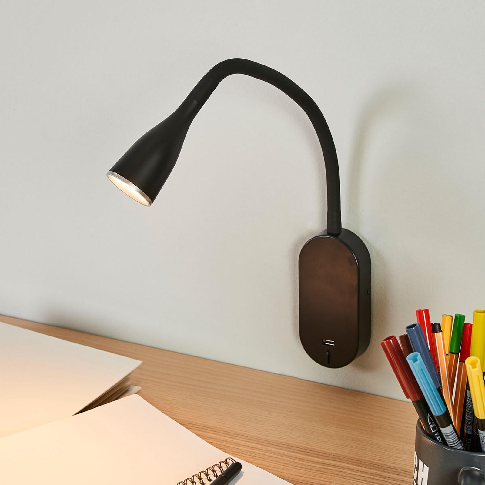 Enna justerbar LED-vegglampe med USB-tilkobling