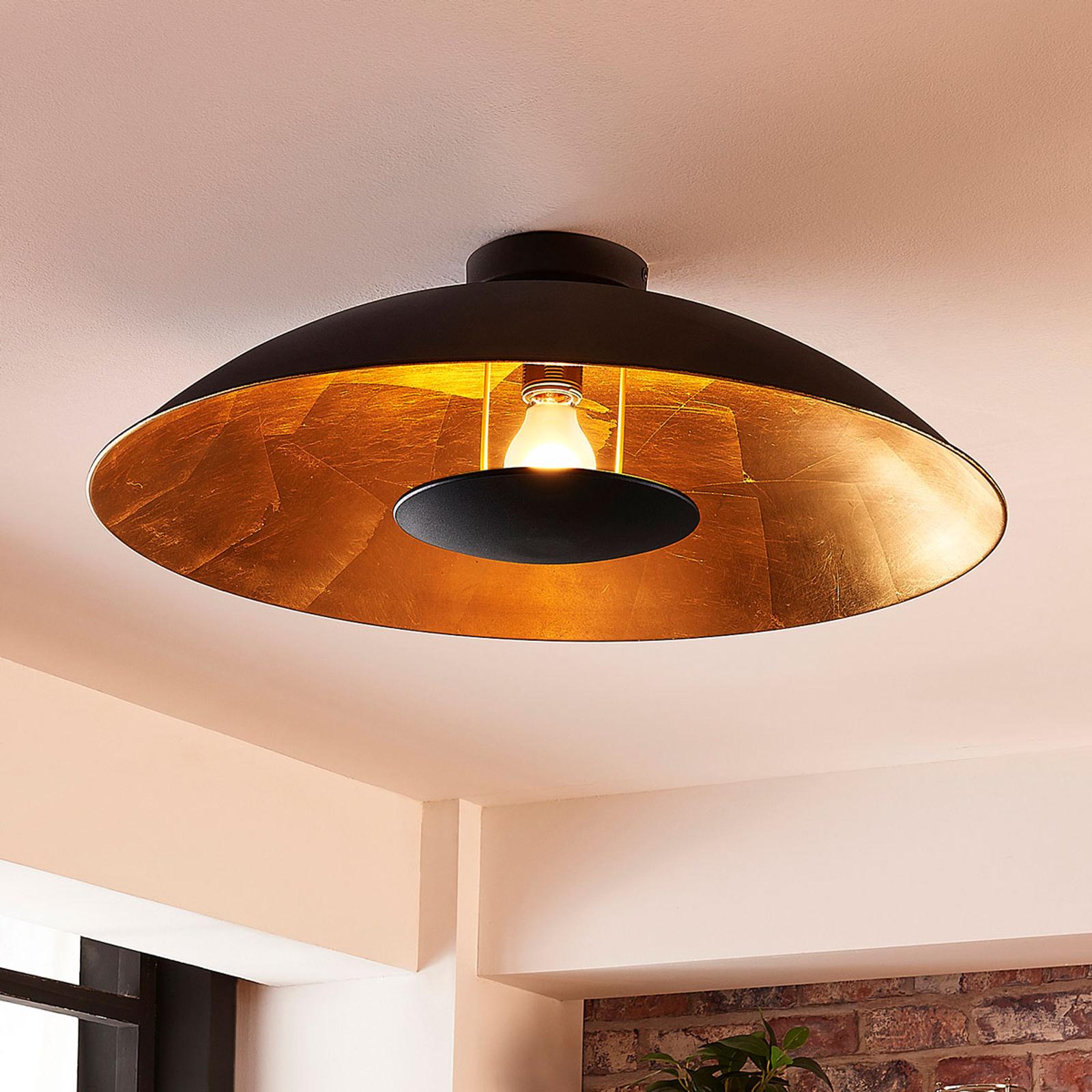 Zwart-gouden plafondlamp Emilienne