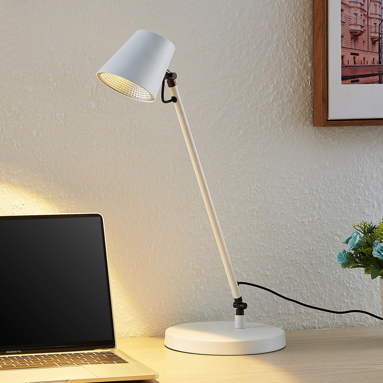Lucande Kenala LED-Schreibtischlampe, weiß