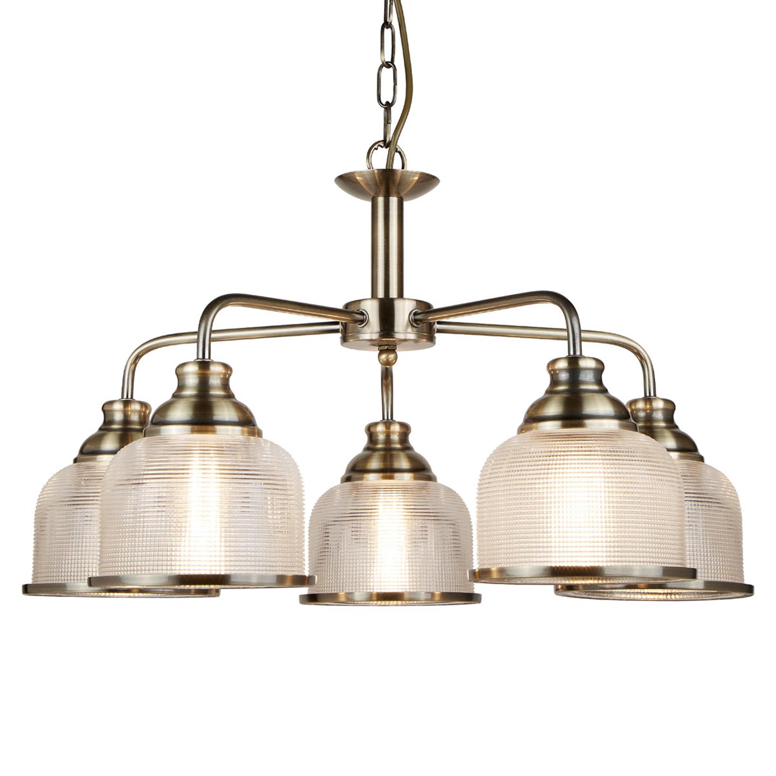 Suspension Bistro II plusieurs lampes vieux laiton