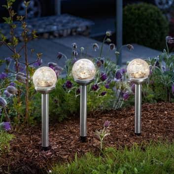 Solar-LED-Dekoleuchte Golden Balls im 3er-Set