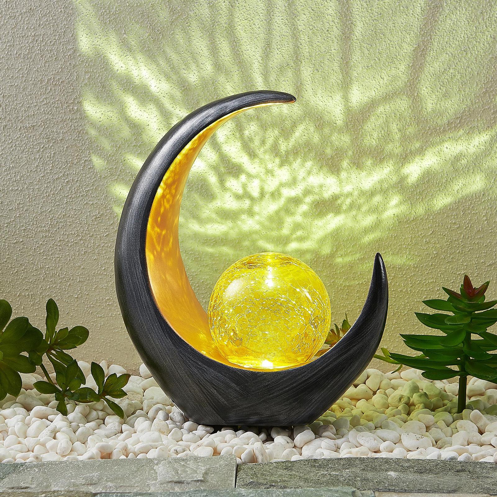Lindby Jamalia LED-Solar-Dekoleuchte, gelbe Kugel