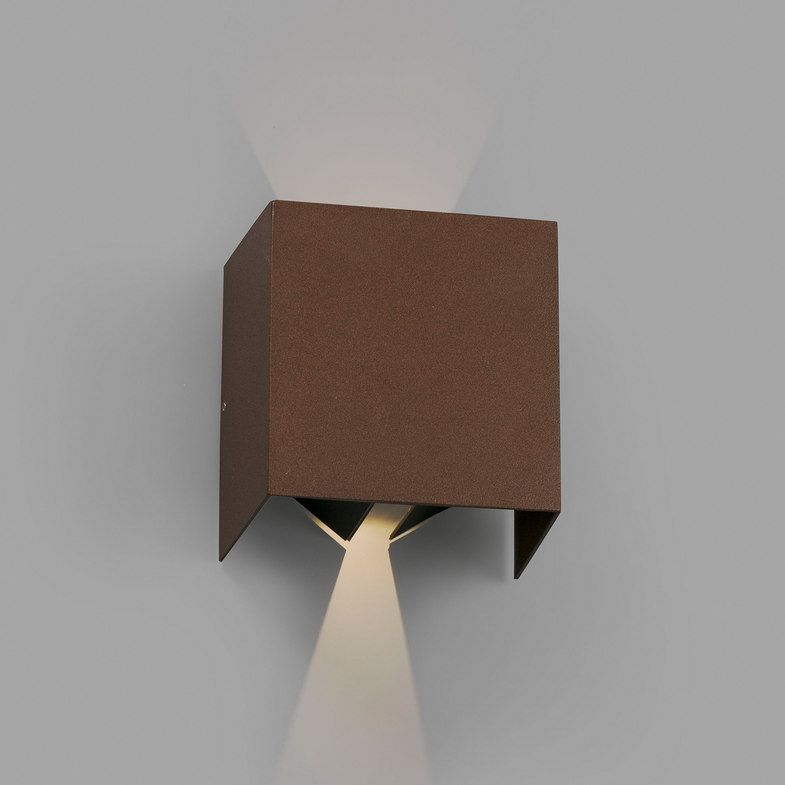 Applique d'extérieur LED Olan, brun rouille