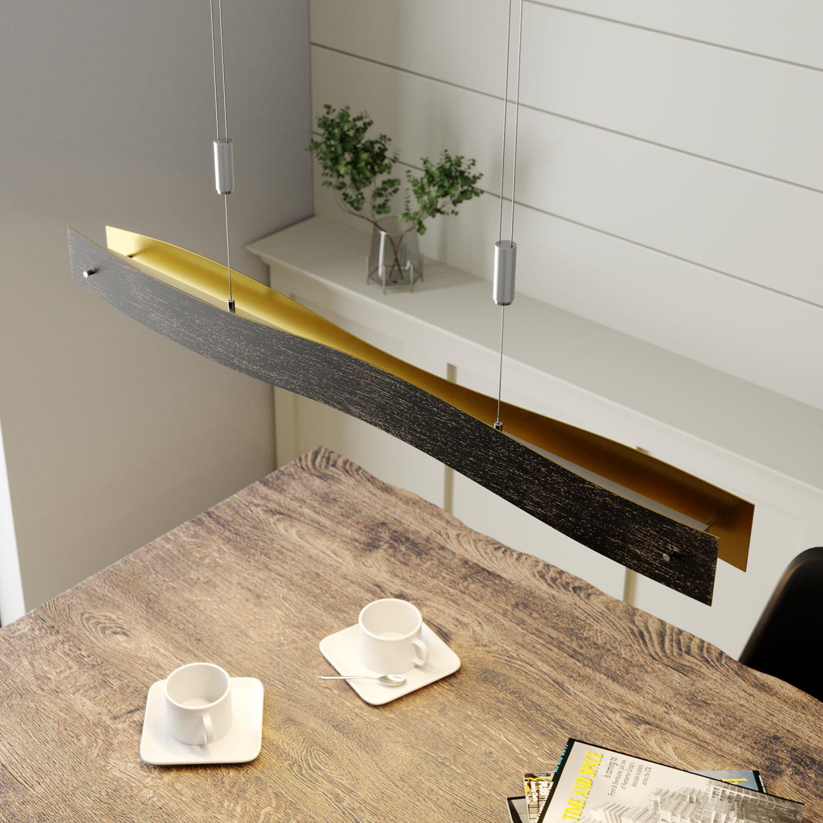 Dæmpbar LED hængelampe Ebu, sort-guld