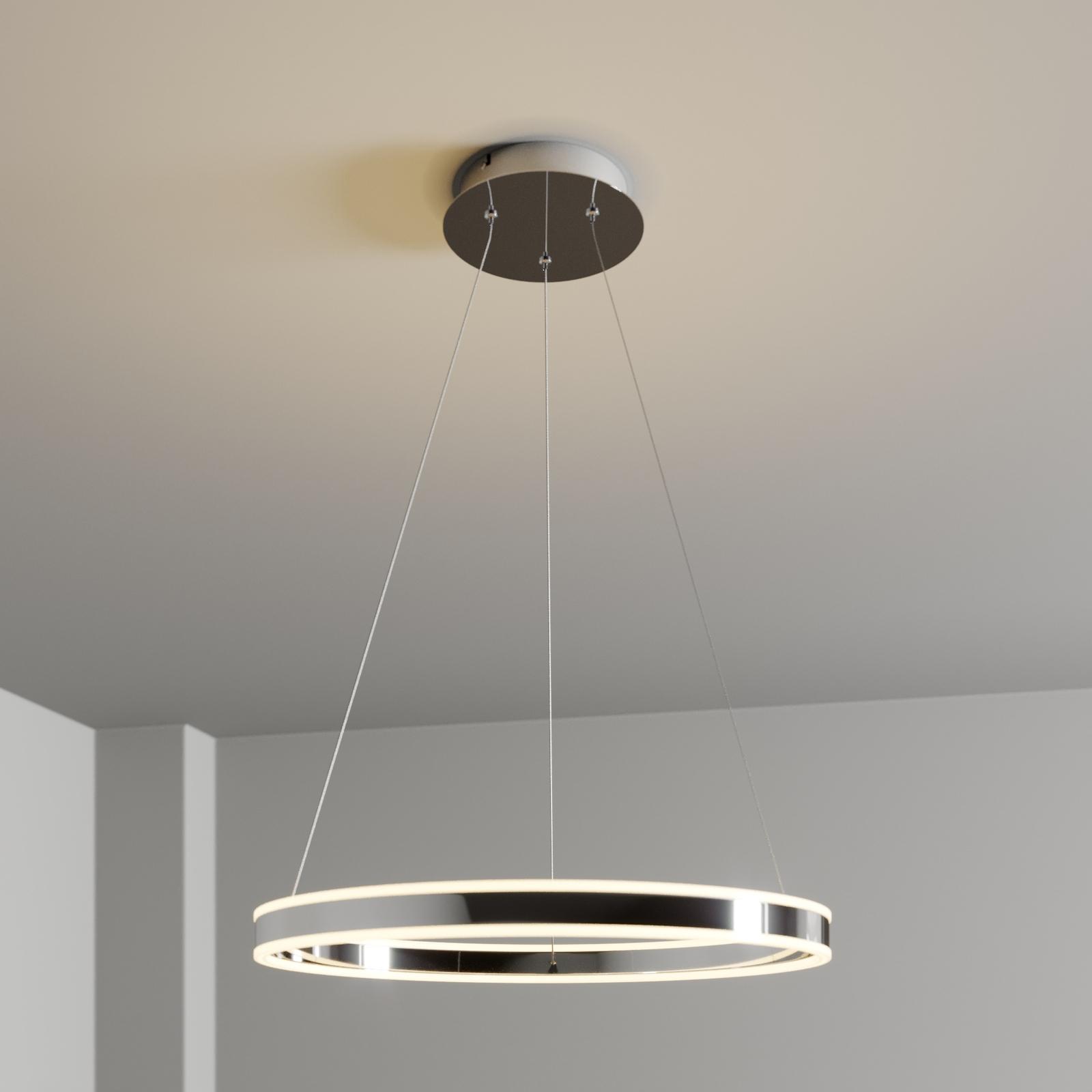 Lámpara colgante LED Lyani cromo atenuable, 60 cm
