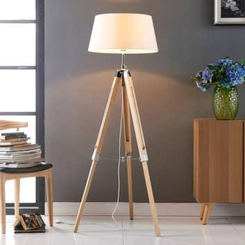 Podlahová lampa Katie s třínohým dřevěným stojanem