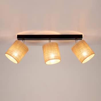 Lampa sufitowa Jute trzy klosze tekstylne