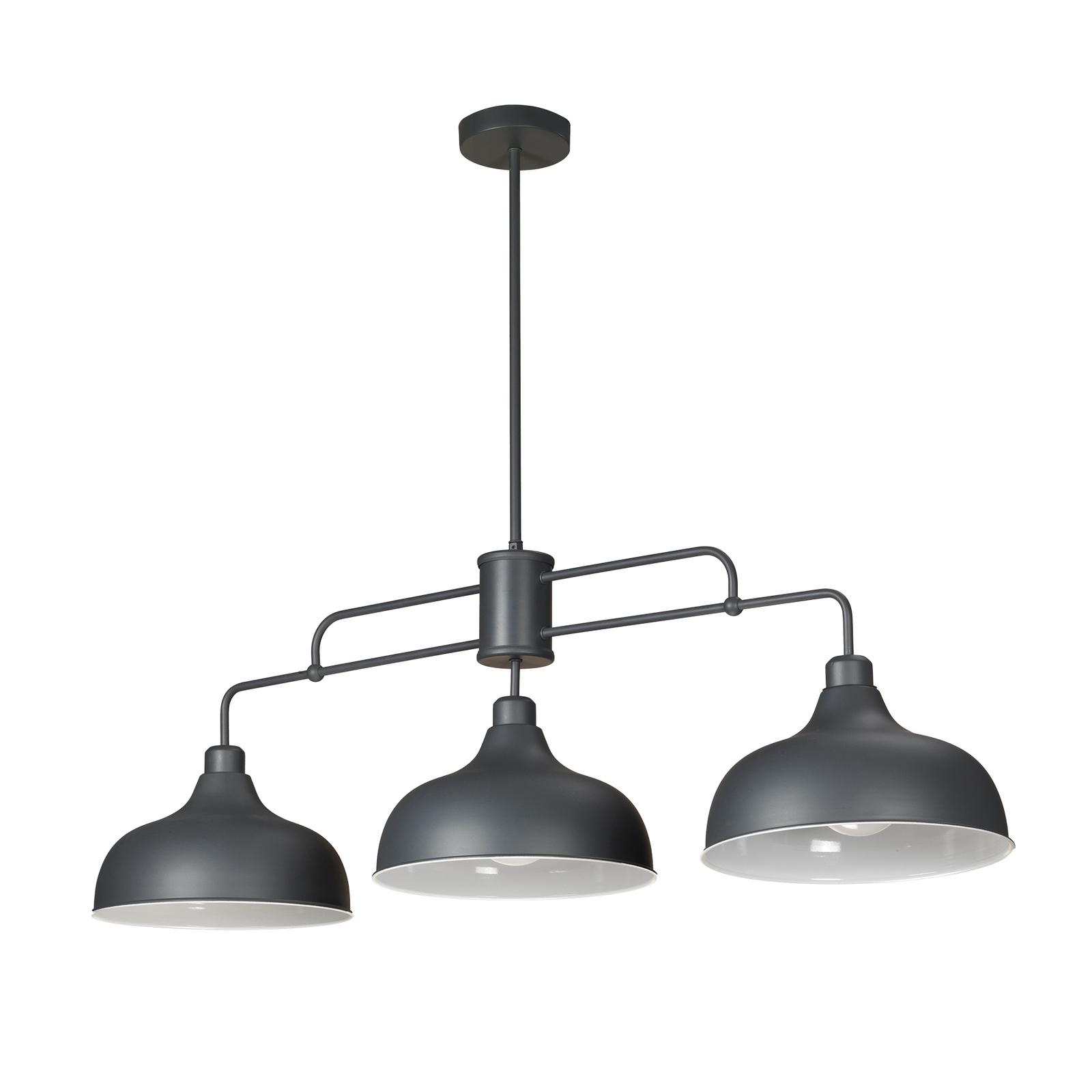 Oslo hengelampe med tre grå metallskjermer