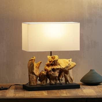 Lampa stołowa Nature Vertical, stopa z drewna