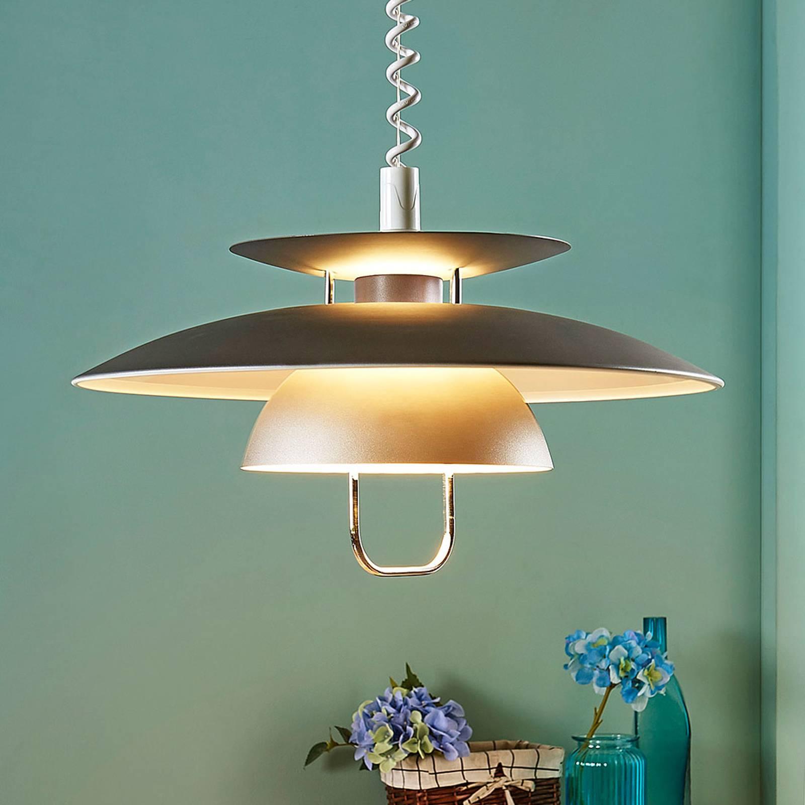 Elegante LED eettafel pendellamp Nadija, grijs