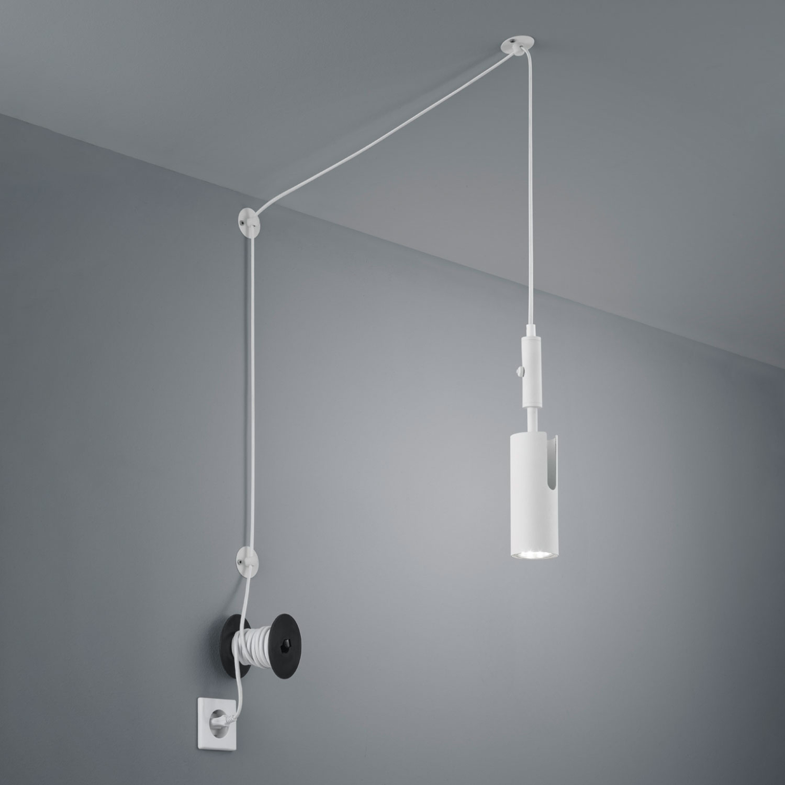 Hanglamp Carla decentraal met stekker, wit