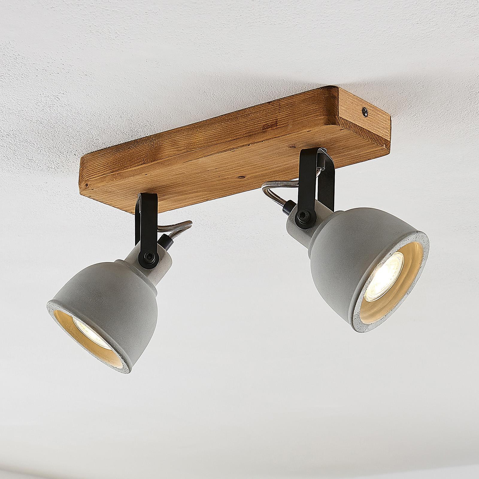 Lindby Mirka Plafonnier LED, pin, à 2 lampes