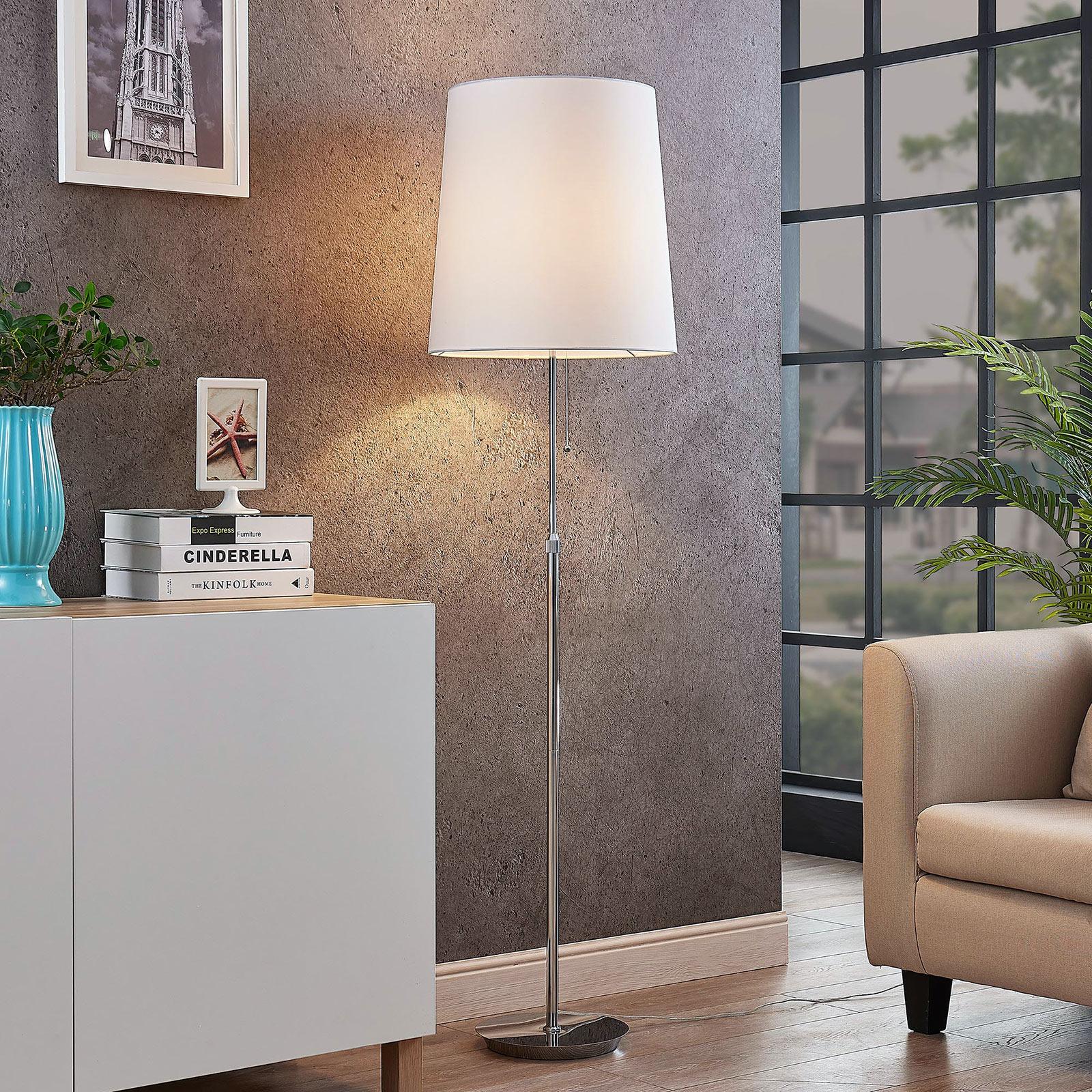 Lucande Pordis vloerlamp, 155 cm, chroom-wit