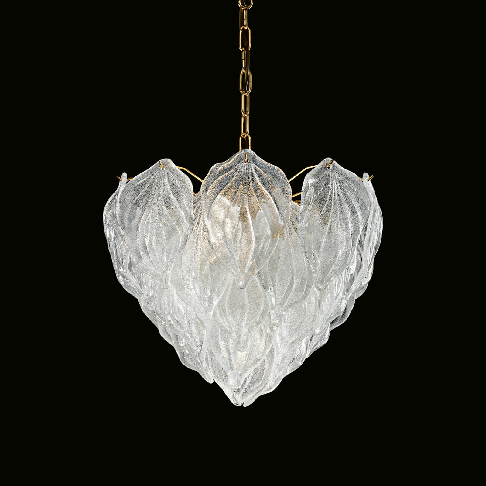 Meerlagige glazen hanglamp Foglie, 45 cm