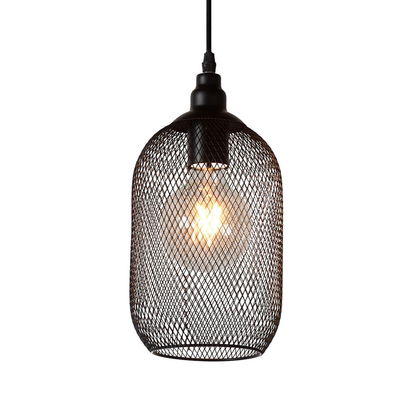 Czarna lampa wisząca w formie klatki Mesh