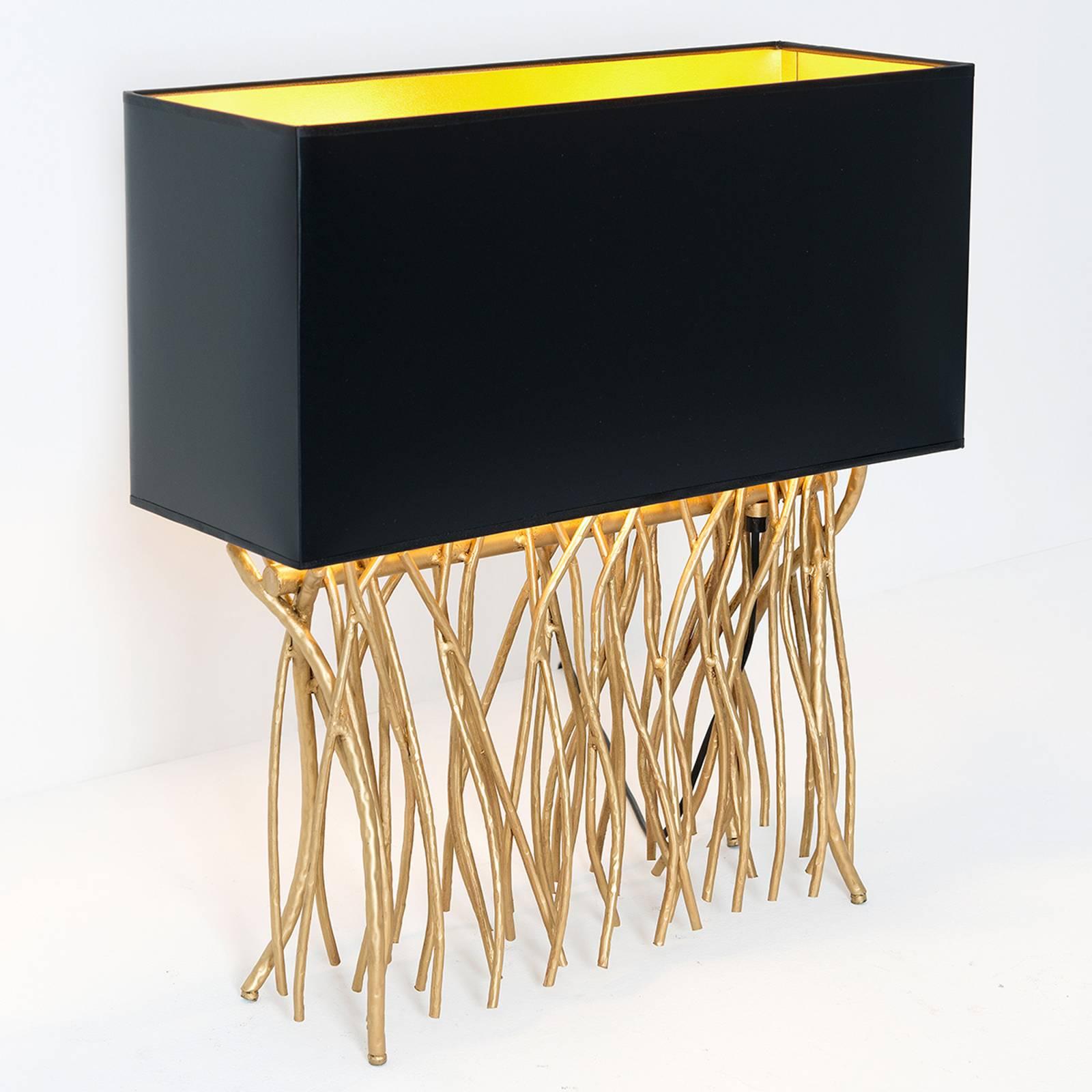 Tafellamp Capri, hoekig, zwart/goud