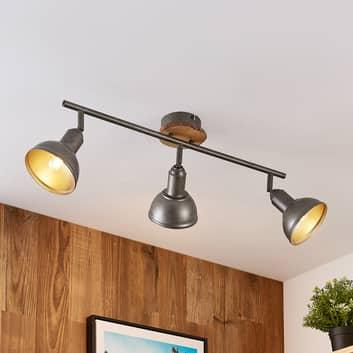 Lindby Nesrin lampa sufitowa, drewno, 3-pkt.
