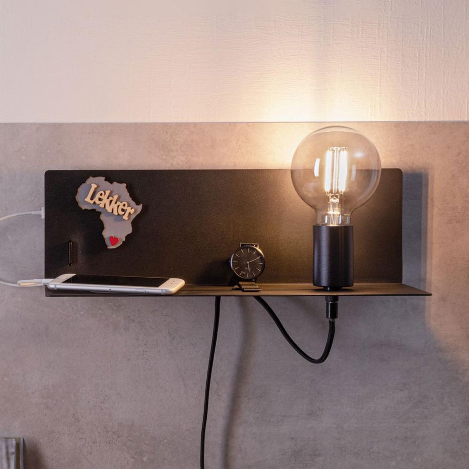 Paulmann Devara wandlamp met legbord, zwart