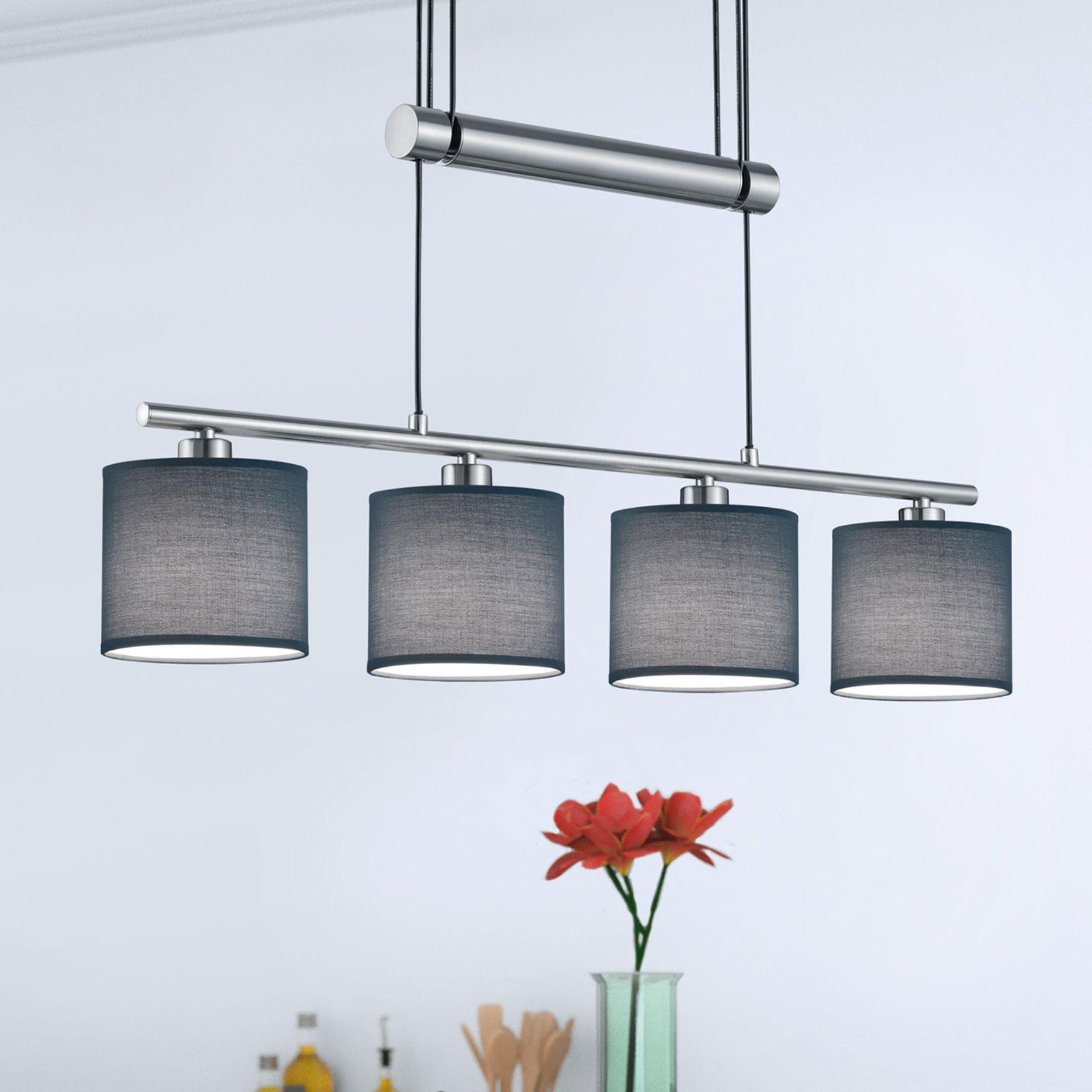 Stoffskjermer grå - hengelampe Garda 4 lyskilder