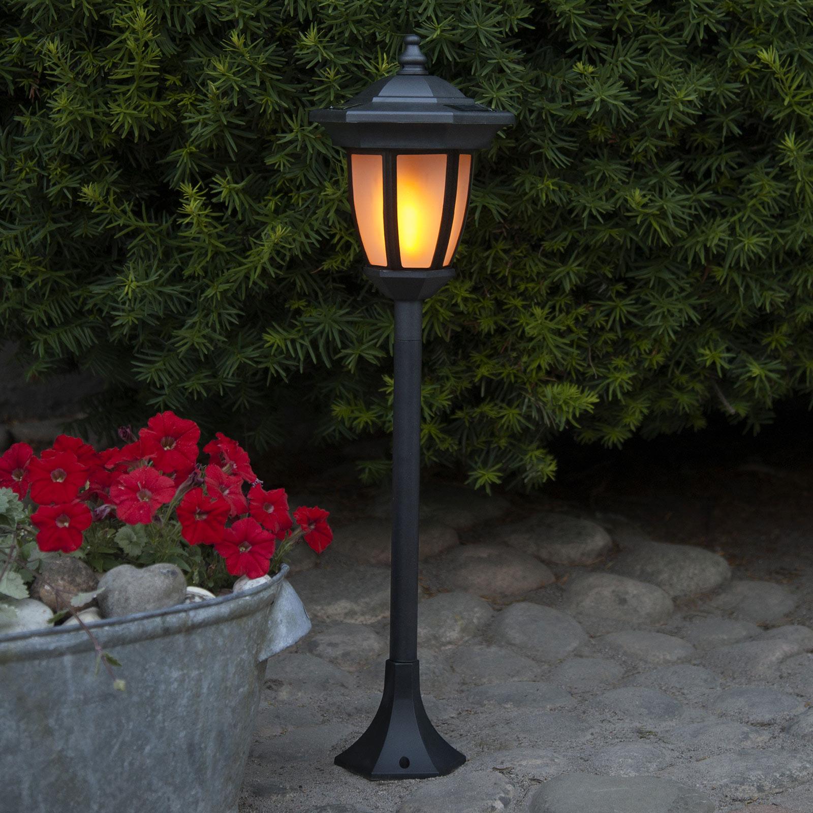 Aurinkokäyttöinen Flame-LED-valaisin, 4 in 1 musta