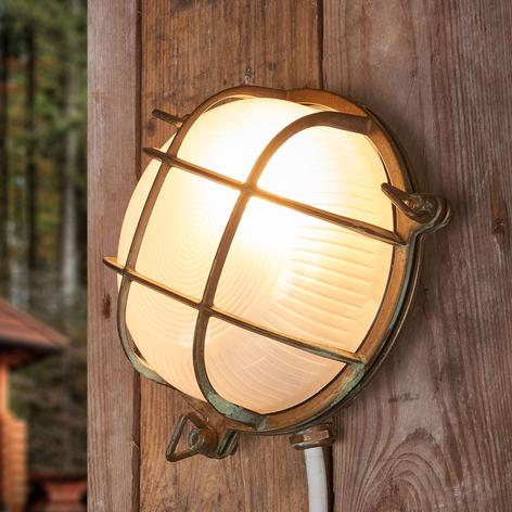 Rund væglampe Bengt til udendørs, antik messing