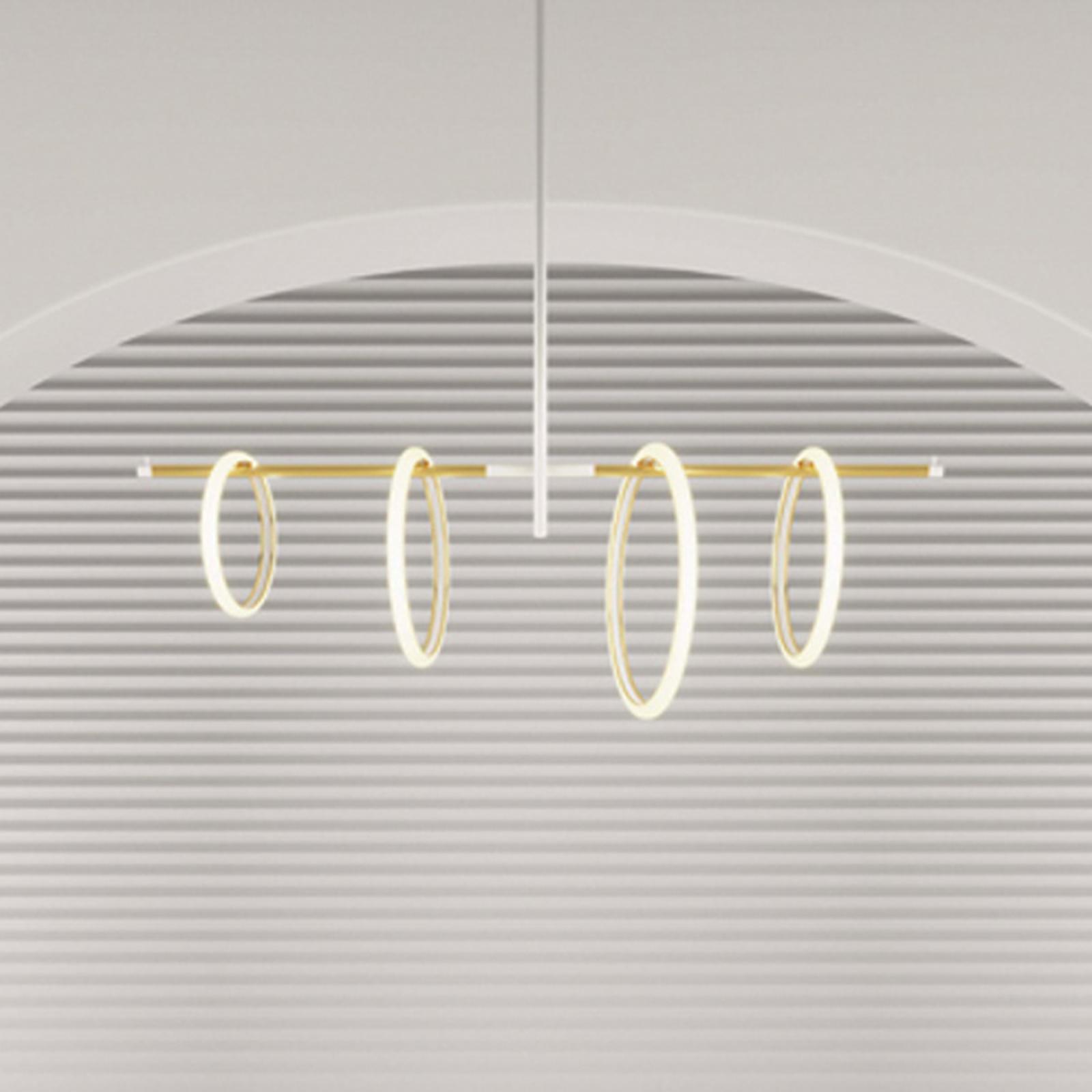 LED-Hängeleuchte Ulaop, vier Ringe, weiß