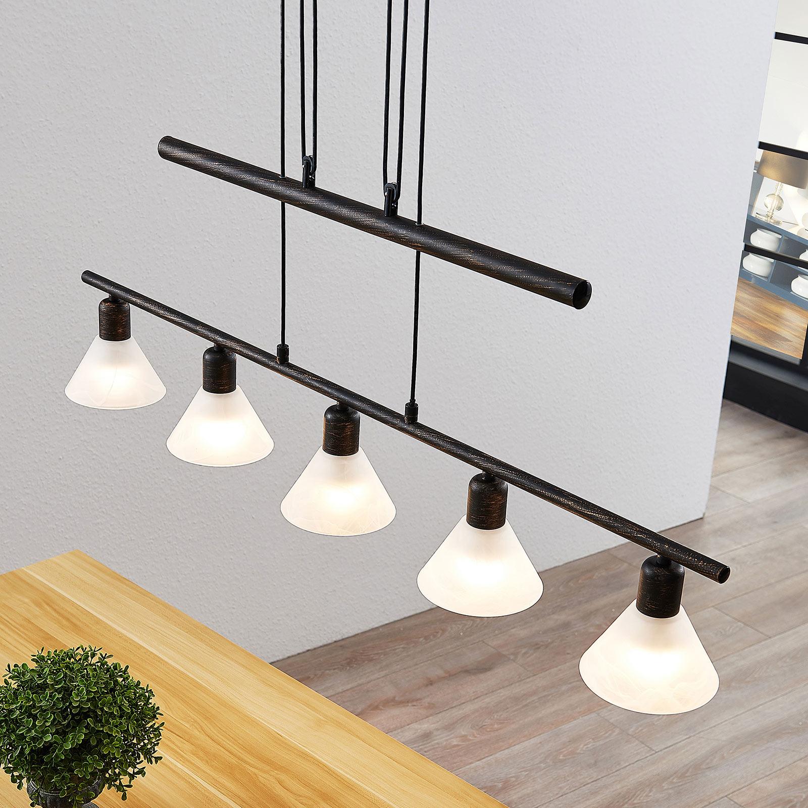 In ho verstelbare hanglamp Delira, 5 lampjes zwart