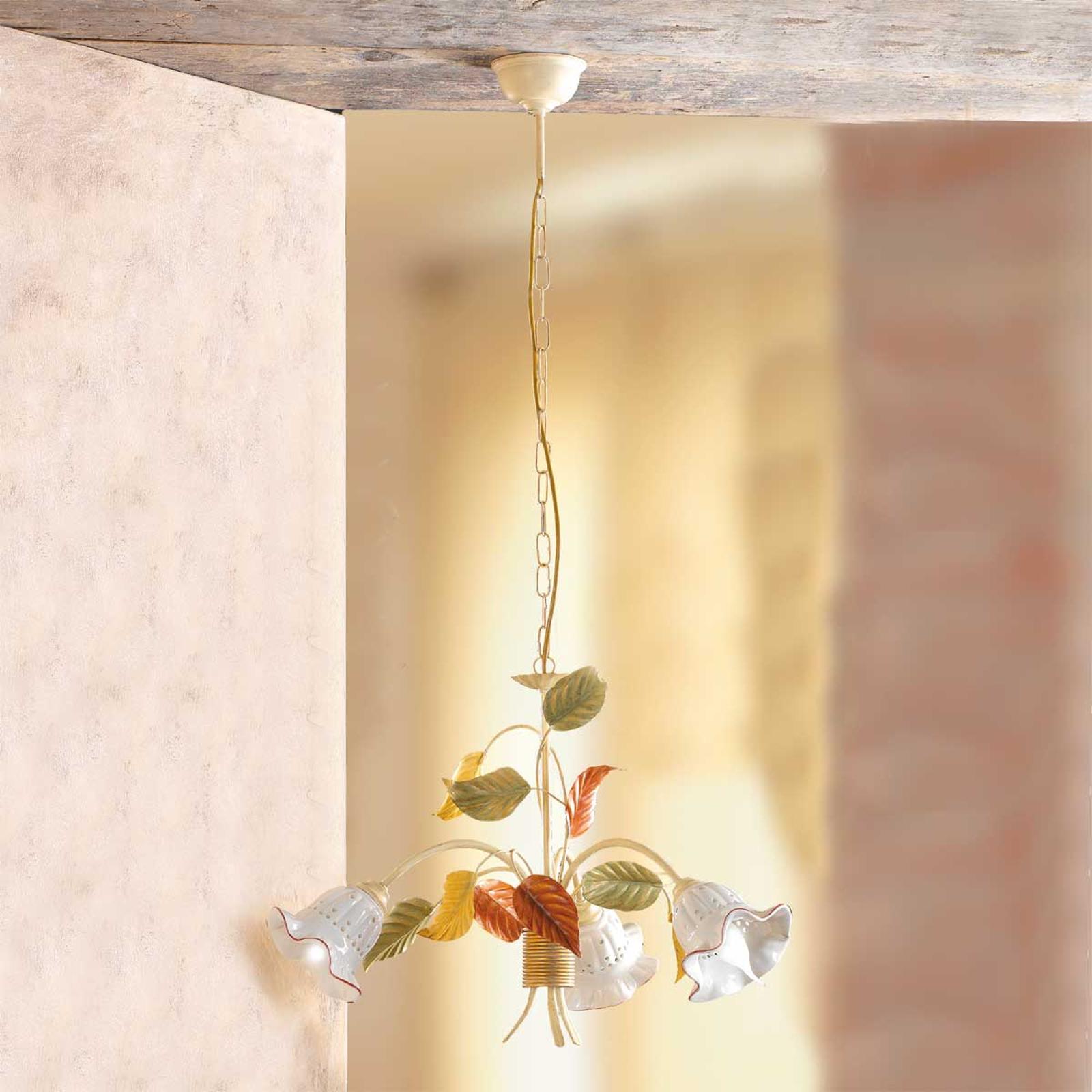Lámpara colgante Flora, estilo florentino, 3 luces